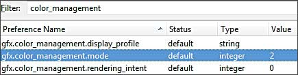 about:config color management settings for Firefox 3