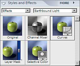 Styles and Effects palette with Earthbound Light effects