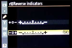Custom Setting f10 - Reverse indicators