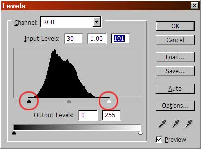 Setting black point and white point in Levels
