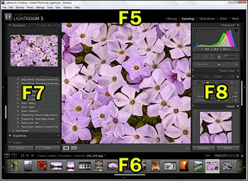 Lightroom keyboard shortcuts for each panel group