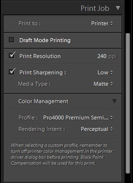 Adobe Lightroom Print module color management settings