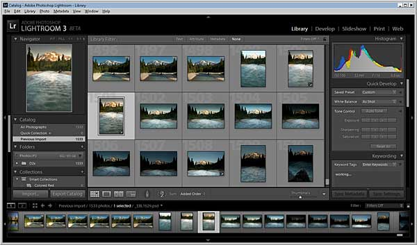 The Adobe Lightroom 3 Beta main screen