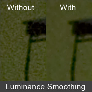 The effect of Luminance Smoothing on high ISO images