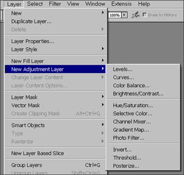 The various types of available adjustment layers in Photoshop