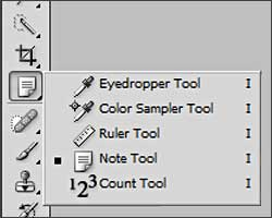 Notes in the Tool palette