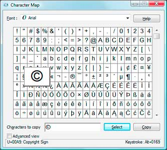 The Windows Character Map